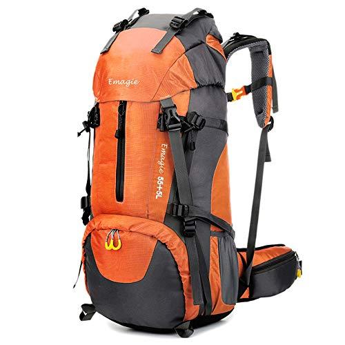 EMAGIE Mochila Resistente al Agua 60L (55+5) para Senderismo Montañismo Campamento Acampada Viaje Resistente al Agua de Lluvia para Deportes al Aire Libre Pesca Ciclismo Esquí (Naranja, 60L)