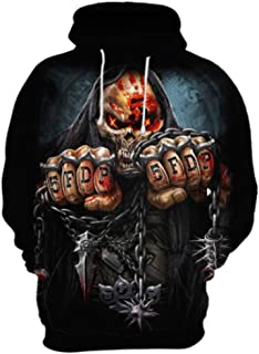 JYK-LQM Unisex Realistic 3D Printed Pullover Long Sleeve Hooded Sweatshirts with Pockets