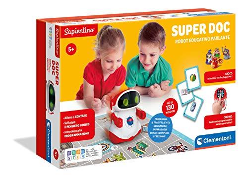 Clementoni - 12094 - Sapientino - Super Doc, robot educativo per bambini (versione in italiano), robot coding e programmazione a blocchi, gioco educativo 5 anni, robot giocattolo