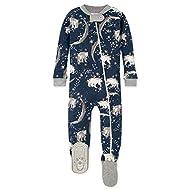 Burt's Bees Baby Baby Unisex Pajamas, Zip-Front Non-Slip Footed Sleeper Pjs, Organic Cotton, Polar Stars, 12 Months, LY27519-PCK-12M
