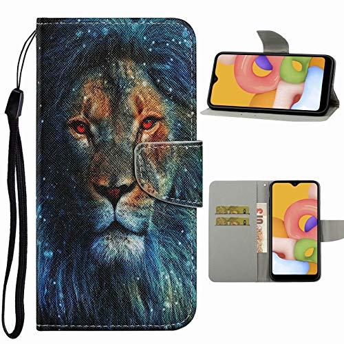 Nadoli Handyhülle für Samsung Galaxy A41,Cool Löwe Muster Premium Leder Lanyard Magnetverschluss Ständerfunktion Schutzhülle Brieftasche mit Kartenfächer