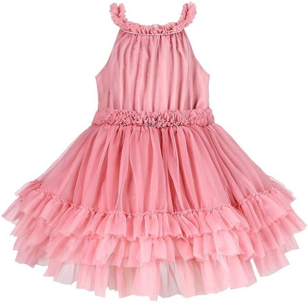 Phorecys Girls' High Waist Sleeveless Ruffle Ballet Puffy Princess Mesh Tutu 3 Layers Tulle Fluffy Slip Dress