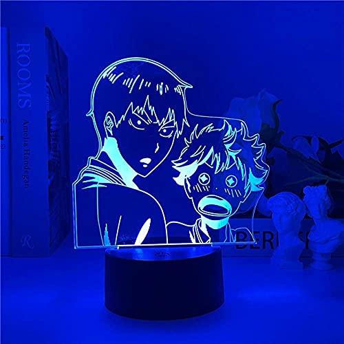 Lámpara de ilusión 3D Luz de noche LED Anime Haikyuu Iluminación decorativa de Navidad colorida Lámpara de mesa USB creativa para decoración de dormitorio Regalo de cumpleaños - control remoto