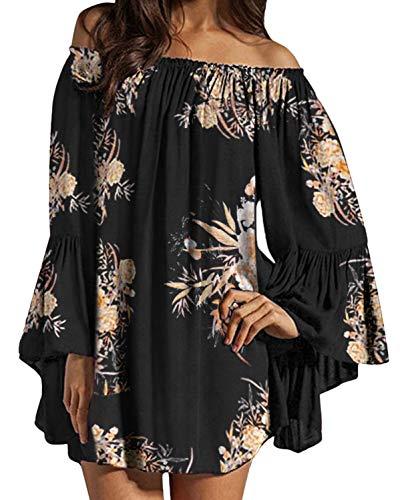 ZANZEA Damen Langarm Schulterfrei Kleid Blumen Oversize Oberteil Carmen Mini Kleider 07-als blid5 XXX-Large