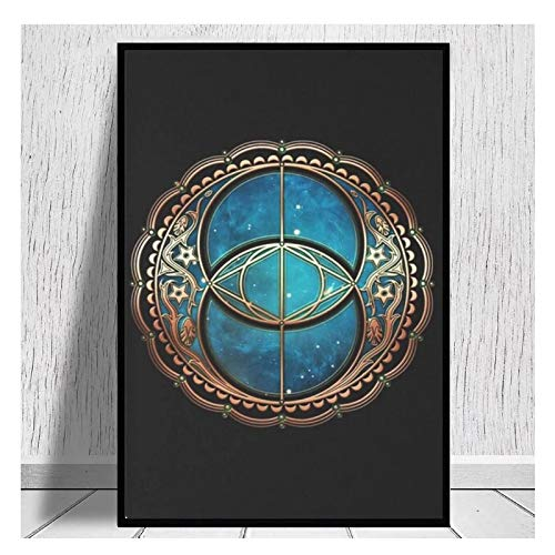 AZTeam Vesica Piscis Chalice Well Symbol Avalo Magic Poster and Prints Arte De La Pared para La Decoración De La Pared Imágenes Impresiones En Lienzo Arte De La Pared-50X70Cm Sin Marco