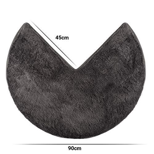 Santec Hochflor-Badteppich aus Mikrofaser für Eckduschen, mit Rutschfester Unterseite - Rund (Anthrazit)