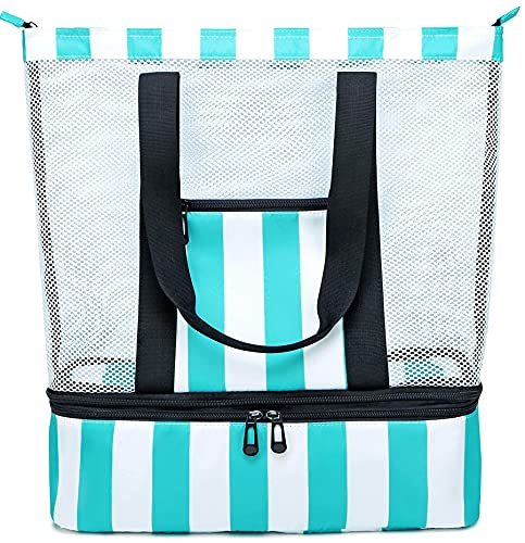 BLUBOON Mesh Beach Tote Bag with Cooler Compartment Insulated Detachable Picnic Bag with Zipper and Pocket Pool Bag for Women (Turquoise)