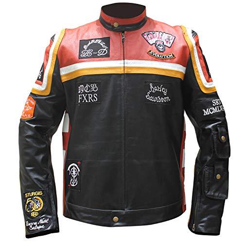 Stylowears HDMM Mickey Rourke Marlboro - Giacca in pelle da motociclista vintage Nero XXL