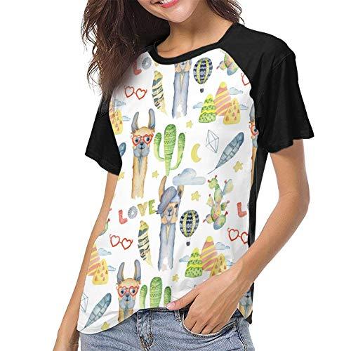 Lady T-Shirt Watercolor Llama Short SleeveTee Soft Women's Baseball Short Sleeves Casual Tank Tops T-Shirts Black