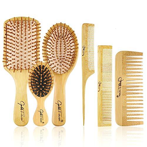 E-More Brosse à cheveux en bambou Manche en bambou avec poils en bambou Ensemble de brosse à cheveux avec peigne à queue, peigne à dents, peigne à double tête, peigne à coussin pour massage du cuir