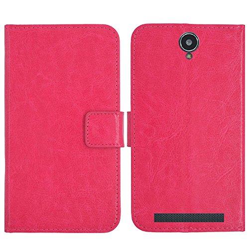 TienJueShi Rosa Flip Book-Style Brief Leder Tasche Schutz Hulle Handy Hülle Abdeckung Fall Wallet Cover Etui Skin Fur Cubot H1 5.5 inch