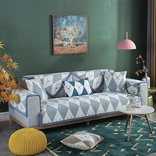 YUTJK Funda de sofá de Esquina,Fundas de Asiento de sofá de Tela para Sala de Estar,Funda Protectora de Muebles,para sofá de 1/2/3/4 plazas,Cubierta de sofá Symphony Chenille,Gris_90×90 cm