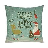 JiaMeng Funda Cojin Almohada, Felices Navidad Fundas de Almohada Lino Sofá Cojín de Dibujos Animados Funda de Almohada geométrica Simple 45cm x 45cm