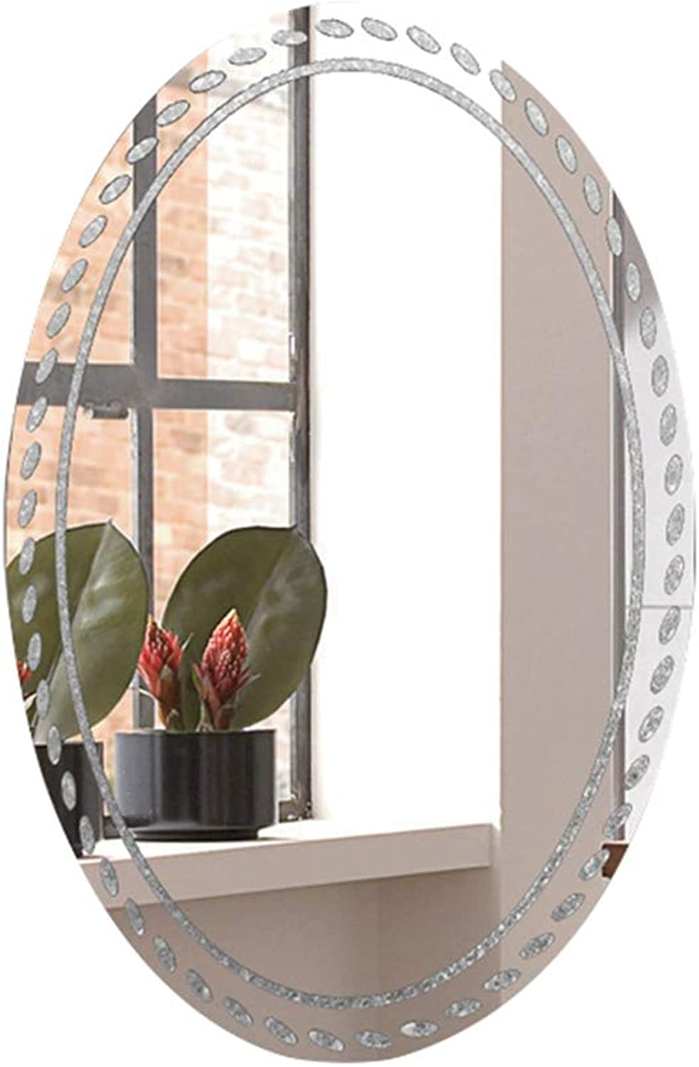 Oval Bathroom Mirror - Rounded Frameless Dressing HD Wall Mirror - 5 mm Thick Edge Engraving Process - 50  70 cm (19.6  27.5in)
