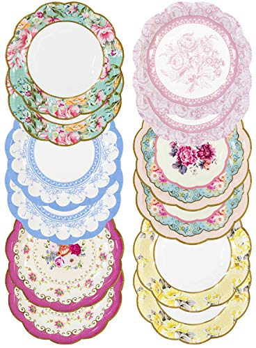 Talking Tables Pack of 12 - Size 18cm, 7' Tea Party Vintage Floral Paper Plates Small | Truly Scrumptious Party Plates | Great For Birthday Party, Baby Shower, Wedding And Anniversary | 12 Pack