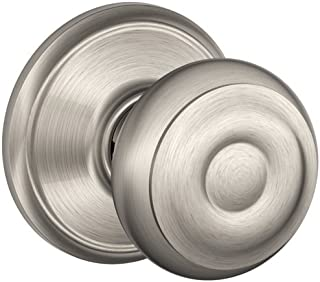 Schlage F10GEO619 SN GEO Passage KNOB BX, 1 Pack, Satin Nickel