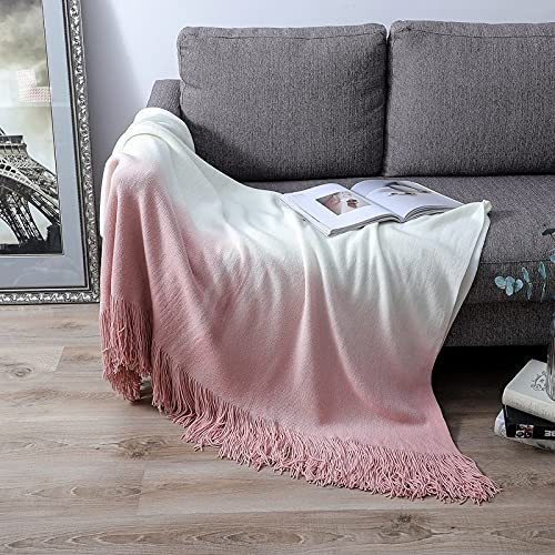 JUBANGLIAN Moderna manta de acrílico para sofá, ligera, cálida y acogedora, manta de forro polar de lujo con doble cara fría para cama sofá manta suave (rosa + blanco, 130 x 173 cm)
