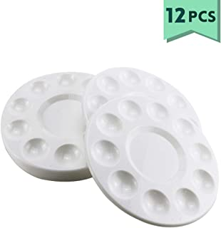 Weoxpr White Generic Round Paint Tray Palettes for DIY Craft Professional Art Painting - 12 Pack