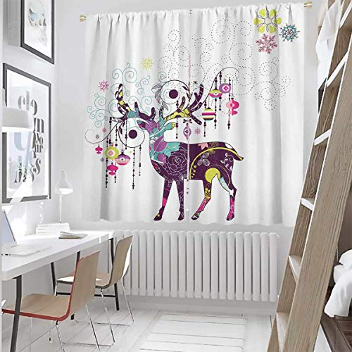 Toopeek Reindeer Ornaments Bedroom Rod Pocket Blackout Curtains Christmas Multicolor Living Room Color Curtains,Set of Two Panels for Curtains W100 x L84 Inch