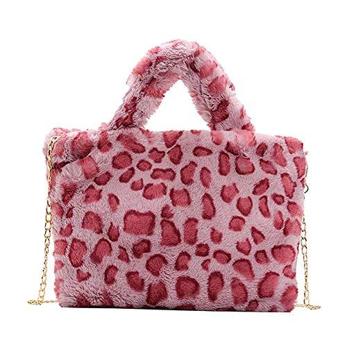 FITYLE Damen Mode Tiere Bedruckt Faux Fell Cross-Body-Tasche Eimer Tasche plüsch umhängetasche Tote mit Ketten Gurt - Rosa Leopard Druck