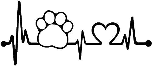 Car777 Car Decals Heartbeat Dog Paw Creative Motorcycle Car Window Body Sticker Decor - Black