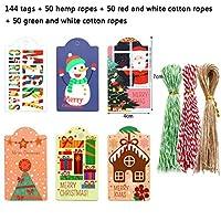 friendsty 紙のタグ、144個のメリークリスマスの紙のタグロープ食品包装付きのDIY手作り工芸品