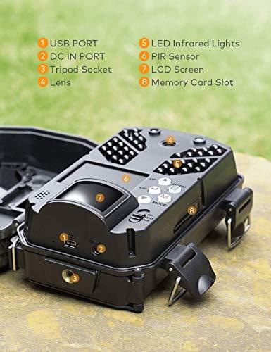 APEMAN Fototrappola 30MP 4K Fotocamera Caccia con Visione Notturna a infrarossi Fino a 65 piedi/20m IP66 Spray Impermeabile per Esterni Natura, Giardino, sorveglianza di Sicurezza della Pelle