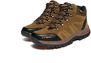 Men's Outdoor Leather Hiking Shoes Breathable High Top for Trekking Walking