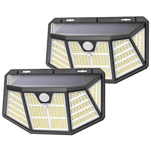 Luz Solar Exterior, SEZAC [310LED / 3 Modos] Focos Solar Exterior Jardin, 270º Ilumination Luz LED Solar Exterior con Sensor Movimiento, Apliques Exteriores Solares para Caminos de Garaje (2 Paquete)
