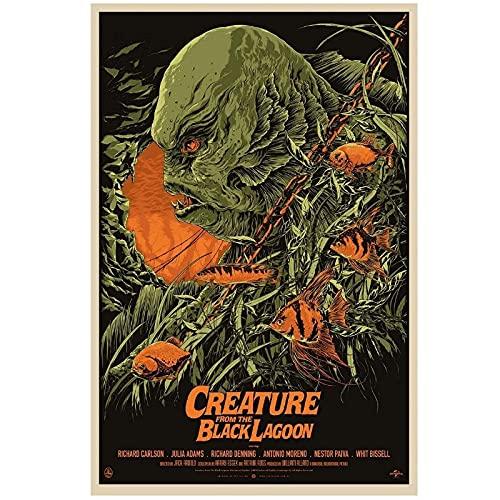 FRTTCYO póster Póster de película de Arte de Pared e Impresiones Criatura de la Laguna Negra Monstruos universales Póster de Arte Pintura en Lienzo Decoración para el hogar -50x70cmx1 Sin Marco