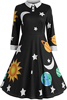 Wobuoke Fashion Vintage Womens Sun and Moon Star Print Botton Henley Long Sleeve Flare Dress