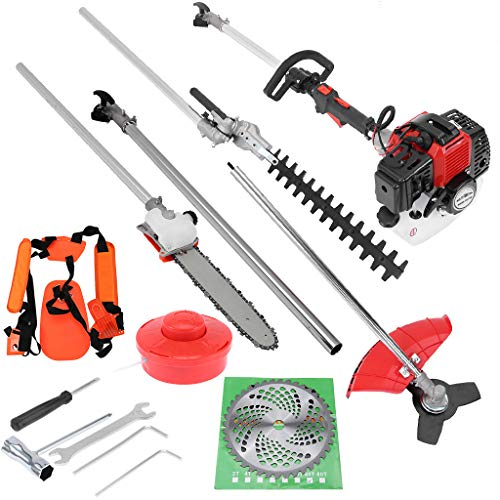 5 in 1 Petrol Hedge Trimmer Chainsaw Brush Cutter,2 Stroke 52CC Gas Powered Brush Cutter Grass,Multi Functional Sets Gas Hedge Trimmer, Garden Tools for Tree Trimming (Red)