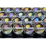 【福縁閣】12mm 水晶レインボーオーラ 1連(約38cm)_R1347-12 天然石 パワーストーン ビーズ