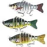 3 Piezas Señuelos de Pesca Articulados Cebos de Pescar, 7 segmentos / 10cm / 4'/15.5g, para Calamar Lubina Río Mar