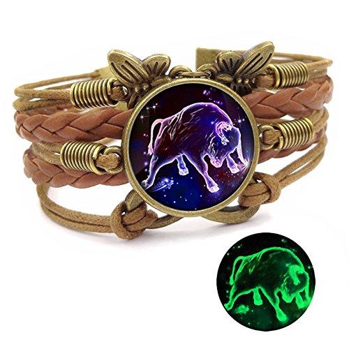 Dunbasi 12 Sternzeichen Armband Infinity Lederarmband Frauen Mädchen,Vintage Schmetterling Unendlichkeit Armbänder,Nachtleuchtender Armreif Damen Geschenke (Stier)