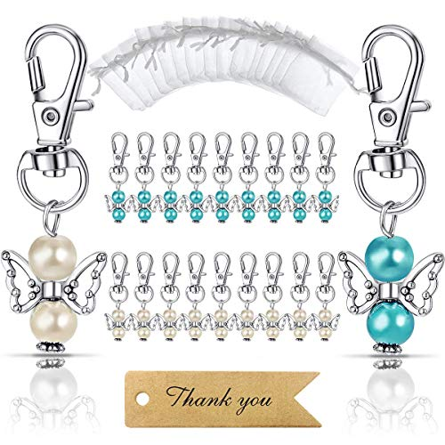 MOVINPE 20pcs Angel Favor Keychains Plus Organza Bags Plus Thank You Kraft Tags, Guest Return Gifts for Baby Shower, Bridal Shower, Wedding Charm, Party Favors(Mix Color 20pcs)