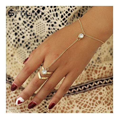 DSJTCH Bracciale Anello di Cristallo Oro Grande for Le Donne di Polso dei monili della Catena di Moda a Mano Torna a Catena bracciali Femmina Braccio di Collegamento Ornamenti
