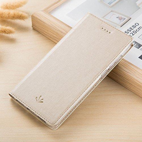 Yoodi Capa compacta para Xperia XZ2, capa de couro de poliuretano premium para Sony Xperia XZ2, capa protetora compacta à prova de choque com suporte para cartão e fecho magnético - ouro