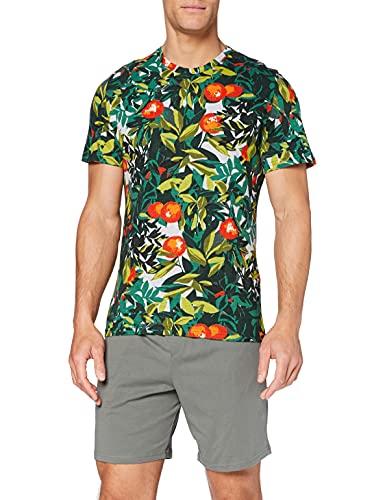 HOM Herren Tangerine Short Sleepwear Zweiteiliger Schlafanzug, Mehrfarbig (Haut: Imprimé Oranger Surf Fond Gris Chiné, Bas: Vert Amande 00xd), Medium
