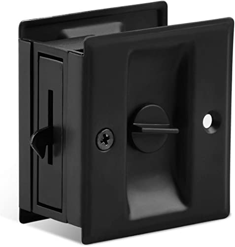 """Privacy Sliding Door Lock with Pull - Replace Old Or Damaged Pocket Door Locks Quickly and Easily, 2-3/4""""x2-1/2"""", for..."""