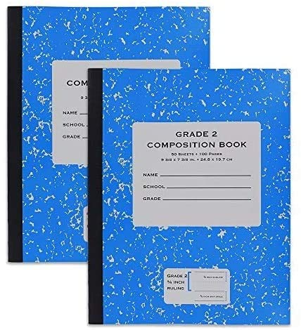 Emraw Grade 2 Composition Book Meeting Notebook Wide Ruled Paper 40 Sheets Office Hard Cover Dairy Journal School Writing Book Assorted Colors (Pack of 4)