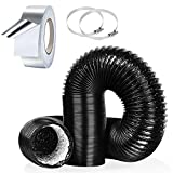 4Inch 10FT Flexible Aluminum Air Ducting, Heavy-Duty Black Dryer Vent Hose for HVAC Ventilation,Duct Fan Systems, 2 Hose Clamps and 1 Aluminum Foil Tape Include