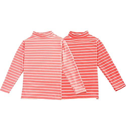2 팩 양털 스트라이프 터틀넥 긴 소매 탑스 소년 소녀를위한 열 속옷