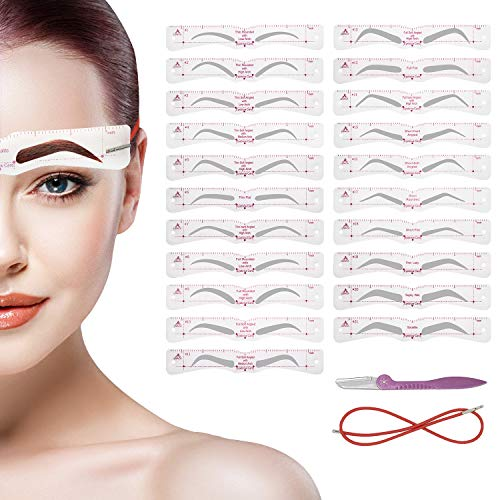 Eyebrow Stencil, Reusable Eyebrow Shaper Stencils, 21 Fashionable Styles Elaborate Eyebrow Templates, Include Thick and Thin Eyebrow Types Template, Quick Makeup Tools For Eyebrow