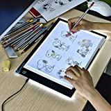 A4 LED Copy Board Super Thin Light Box Drawing Pad Tracing Table USB Cable with Brightness Adjustable for Artists, AnimationDrawing, Sketching, Animation, X-ray Viewing