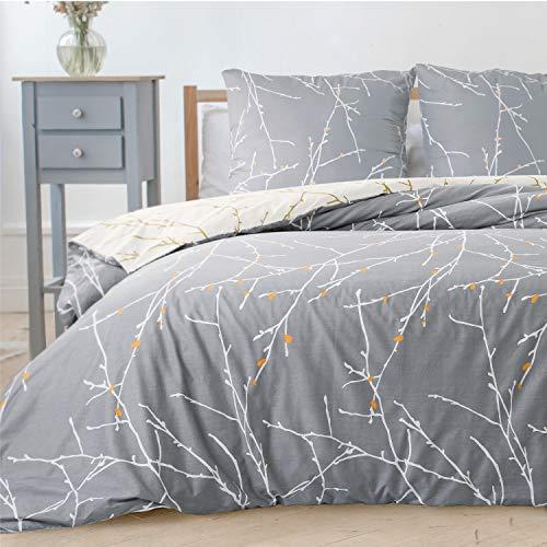 Bedsure Bettwäsche 155x220 cm grau Bettbezug Set mit Zweige Muster, 3 teilig microfaser Bettwäsche warme& atmungsaktive Bettbezüge mit Reißverschluss und 2 mal 80x80cm Kissenbezug