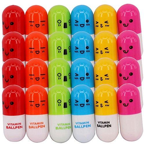 SunAngel 24PCS Pill Shaped Pens Retractable Ball Pens/Vitamin Capsule Pens/Nurses Week Kawaii School Supplies (24PCS Smiling Ballpoint Shaped pens)