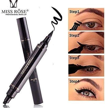 Miss Rose Dual Eyeliner Pen And Winged Stamp, Black.