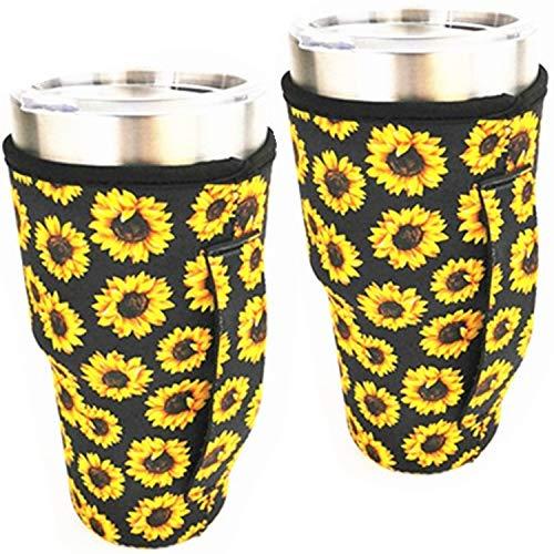 WJA Neoprene Handler Insulator Cooler fits 30oz tumblers and Blender Bottles Lit can Coolers Coolie Cover Handle Sleeve (Sunflower)
