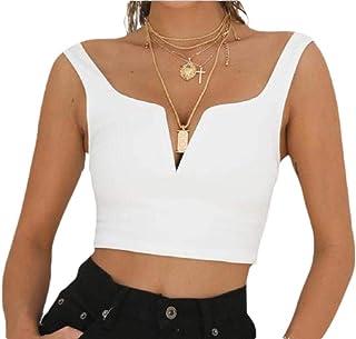 Women's Sleeveless Deep V Neck Short Tops Shirts Crop Tops